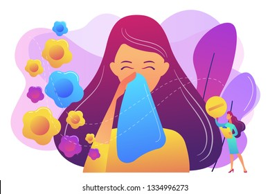 Female allergic to spring flowers sneezing and taking medicine. Seasonal allergy, seasonal allergy diagnosis, pollen allergy immunotherapy concept. Bright vibrant violet vector isolated illustration