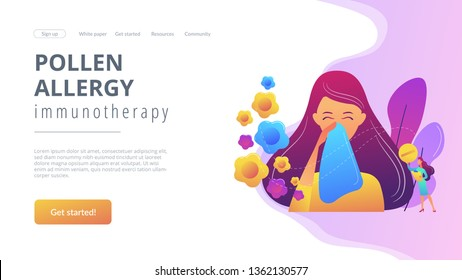 Female allergic to spring flowers sneezing and taking medicine. Seasonal allergy, seasonal allergy diagnosis, pollen allergy immunotherapy concept. Website vibrant violet landing web page template.