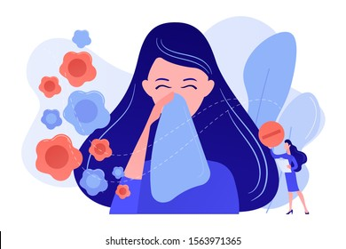 Female allergic to spring flowers sneezing and taking medicine. Seasonal allergy, seasonal allergy diagnosis, pollen allergy immunotherapy concept. Pinkish coral bluevector vector isolated