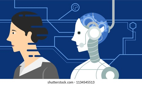 Female android with skin technology, cybernetic organism deactivate skin technology on blue background with high technology graphic, futurism illustration concept, vector illustration in flat style