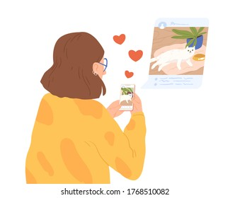 Female animal lover sharing photo of cat at social network vector flat illustration. Woman blogger making post to followers isolated. Girl browse social media use smartphone