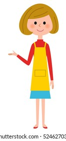 The female of the apron who explains