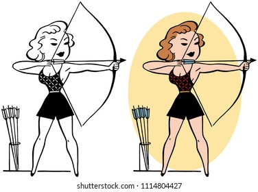 A female archer takes aim with her bow and arrow.