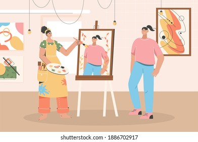 Female artist drawing portrait of young girl on canvas at workshop. Woman painting female model standing in front easel at art studio. Profession or creative hobby. Vector character illustration