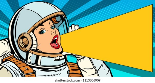 female astronaut is calling for a sale. Pop art retro vector illustration kitsch vintage drawing