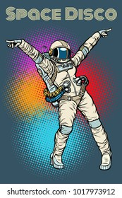female astronaut dancing disco. Pop art retro comic book vector illustration hand drawn