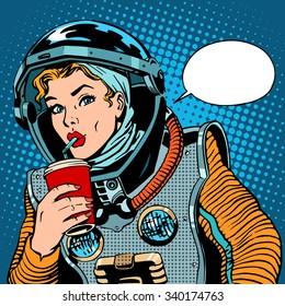 Female astronaut drinking soda pop art retro style