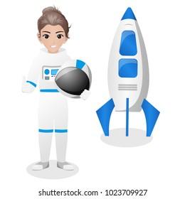Female Astronaut Holding Flag / Helmet