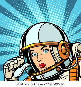female astronaut points to himself thumb. Pop art retro vector vintage kitsch illustration drawing