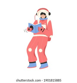 Female astronaut reading book and flying in zero gravity. Woman cosmonaut in spacesuit isolated person. Astronomy education, cosmos exploration, scientist daily routine. Vector character illustration