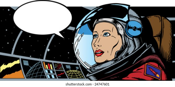 Female Astronaut in space.  Astronaut is a separate drawing and can be removed from background and seat.