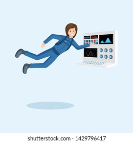 Female astronaut training flat illustration. Cosmonaut floating in zero gravity, pressing button on spaceship control panel cartoon vector character. Space mission preparing isolated clipart