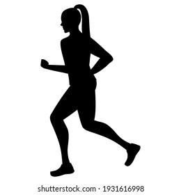 female athlete running sport silhouette vector illustration design