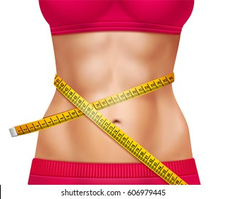 Female athletic waistline 3d design with red sports clothing and measuring tape on white background vector illustration