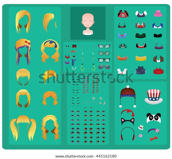 Female Avatar Maker Blonde Hair Edition Stock Vector (Royalty Free