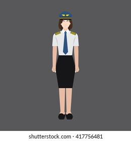 A female avatar of professions people. Full body. Flat style icons. Occupation avatar. Female pilot icon. Vector illustration