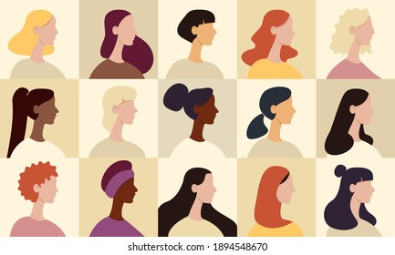 Female avatar set. Collection of profile portraits of women cartoon characters. Various nationality: african american, redhead, blonde, brunette, asian, muslim, european.