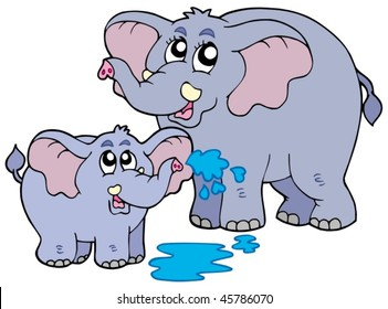 Female and baby elephants - vector illustration.