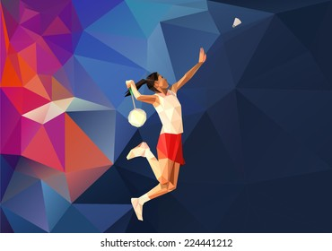 Female badminton player jumping smash shot on colorful polygonal background