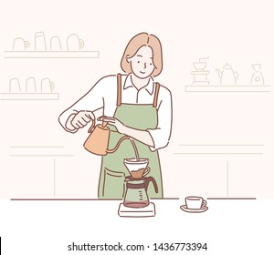 Female barista making coffee, manual brew drip coffee and accessories. Hand drawn style vector design illustrations.