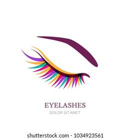 Female beautiful eye with colorful eyelashes, isolated on white background. Vector logo, emblem design element. Concept for beauty salon, cosmetics label, visage and makeup.