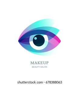 Female beautiful eye on flower leaves background. Vector logo, label, emblem design element. Concept for beauty salon, makeup stylist, optical, glasses shop, oculist, ophthalmology.