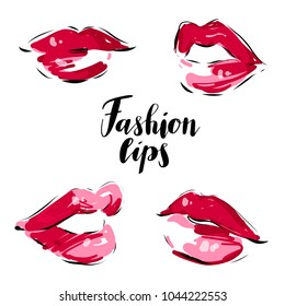 Female beautiful sexy red lips isolated  vector set.