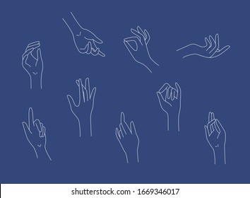 Female beauty hand logo and icon. Linear design. Vector concept illustration.