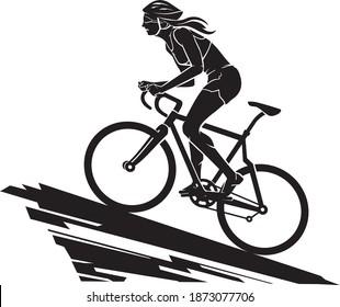 Female Bike Ride Uphill, Silhouette Illustration
