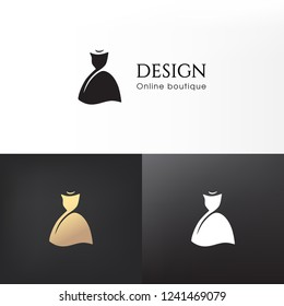 ​Elegant female black dress logo design. Vector image.