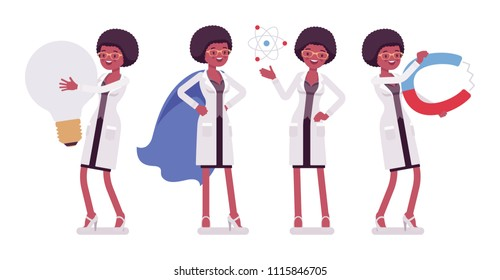 Female black scientist and giant things. Expert of physical, natural laboratory in white coat with tools. Science, technology concept. Vector flat style cartoon illustration isolated, white background