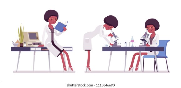 Female black scientist working. Expert of physical or natural laboratory in coat studies at microscope. Science, technology concept. Vector flat style cartoon illustration isolated, white background