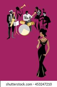 Female black singer and jazz musicians