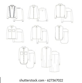 female blouses collection technical drawing