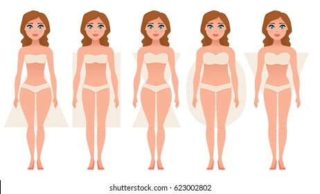 Female body figures. Woman shapes, five types: hourglass, triangle, inverted triangle, rectangle, pear/rounded. Vector illustration.