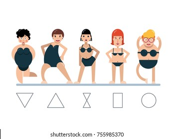 Female body figures, woman shapes, five types. Vector illustration in flat style