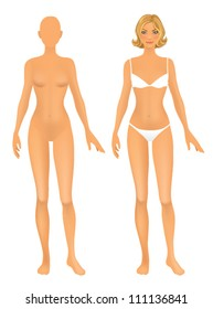 Female body front.  Basic figure proportions - mannequin.