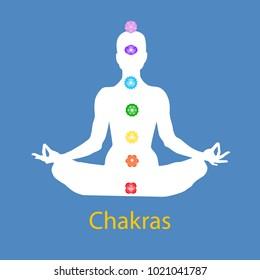 Female body in lotus yoga asana with seven chakras on blue background. Root, Sacral, Solar, Heart, Throat, 3rd Eye, Crown chakras. Drawing Vector illustration eps 10. International Yoga Day