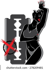 Female body in a pose with a background a razor. Vector Conceptual art illustration items for procedures beauty, fashion, spa, waxing, Bikini Wax, underwear.