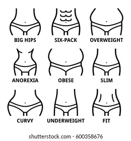 Female body shape - fit, big hips, obese, overweight, slim, anorexia, six-pack, obese, fat, curvy