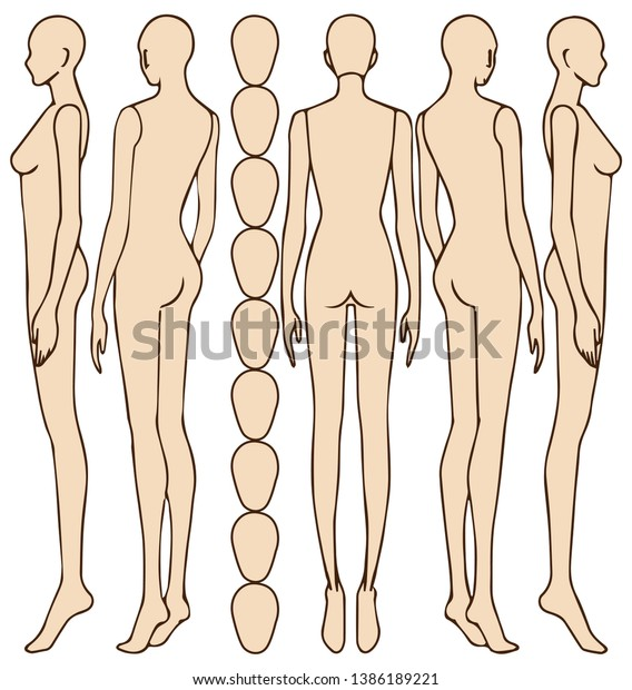 Female Body Silhouettebehind Female Figure Vector Stock Vector Royalty Free 1386189221