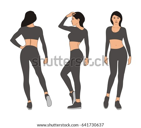 Female Body Template Front View Back And Profile Woman In Leggings