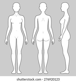 Female Body from three angles