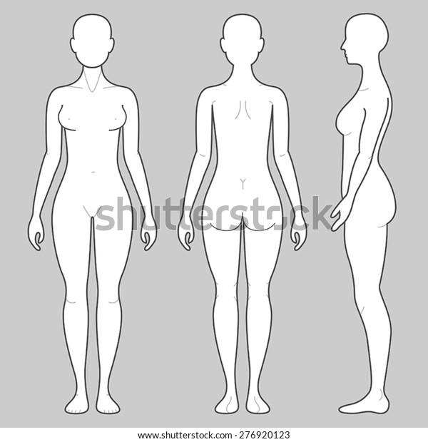 Женское тело с трех углов
