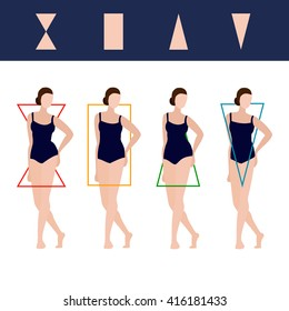 Female Body Types: hourglass, rectangle and triangles. Vector editable illustration for beauty projects.