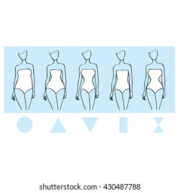 Female body types set. Vector illustration. Woman Round, triangle, rectangle, hourglasses shapes.
