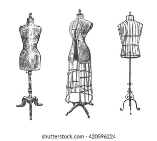 Female body vintage mannequin set. Tailor's dummy for female body. Retro Illustration in ancient engraving style