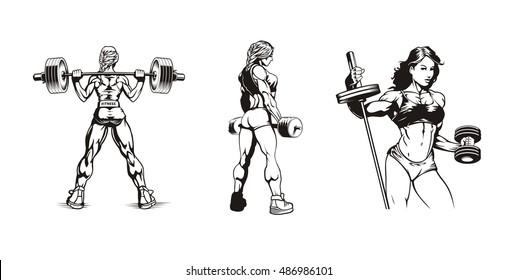 female bodybuilding, set of women bodybuilders, vector illustration