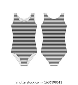 Female bodysuit. Technical sketch body underwear. Black stripes bodies wear for girls isolated on white background. Women casual underclothing. Fashion vector illustration