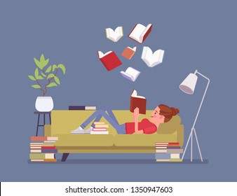 Female book reader. Young girl reads for pleasure lying on sofa, enjoys free time around literary pages of stories, novel, open volumes floating above, home interior, library room. Vector illustration